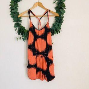 Volcom Orange & Black Circular Romper